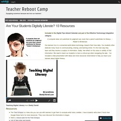 Are Your Students Digitally Literate? 10 Resources