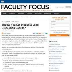 Should You Let Students Lead Discussion Boards? - Faculty Focus