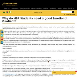 Why do MBA Students need a good Emotional Quotient?