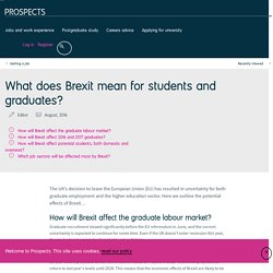 What does Brexit mean for students and graduates?