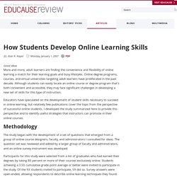 How Students Develop Online Learning Skills (EDUCAUSE Quarterly) | EDUCAUSE | Leadership in Distance Education | Scoop.it