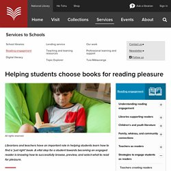 Helping students choose books for reading pleasure