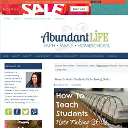 How to Teach Students Note Taking Skills - Abundant Life