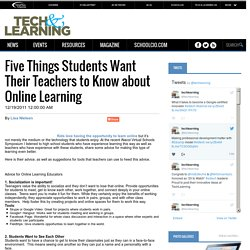 Five Things Students Want Their Teachers to Know about Online Learning