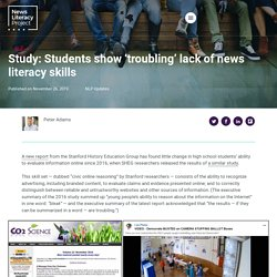 Study: Students show 'troubling' lack of news literacy skills — News Literacy Project