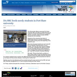 DA SRC feeds needy students in Fort Hare university:Monday 25 May 2015