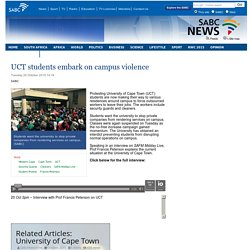 UCT students embark on campus violence :Tuesday 20 October 2015