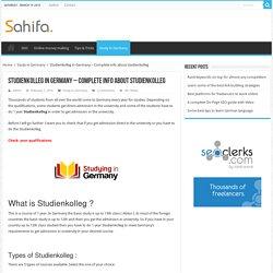 Studienkolleg in Germany - Complete info about studienkolleg