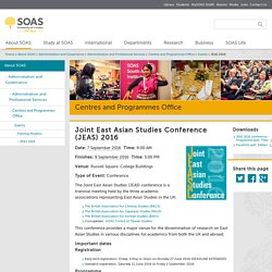 Joint East Asian Studies Conference (JEAS) 2016