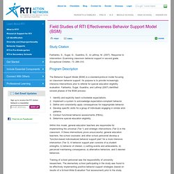 Field Studies of RTI Effectiveness Behavior Support Model (BSM)