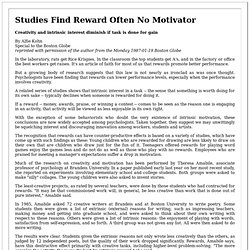 Studies Find Reward Often No Motivator