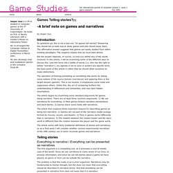 Games Studies 0101: Games telling Stories? by Jesper Juul