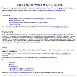 Studies on the Works of J.R.R. Tolkien