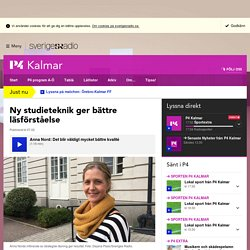 Ny studieteknik ger bättre läsförståelse - P4 Kalmar