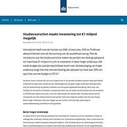 Studievoorschot maakt investering tot €1 miljard mogelijk