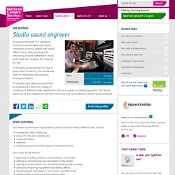 Studio sound engineer Job Information