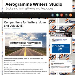 Aerogramme Writers' StudioCompetitions for Writers: June and July 2015