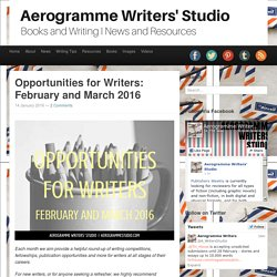 Aerogramme Writers' StudioOpportunities for Writers: February and March 2016