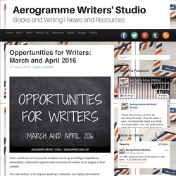 Aerogramme Writers' StudioOpportunities for Writers: March and April 2016