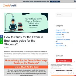 How to study for the exam in best ways guide for the students?