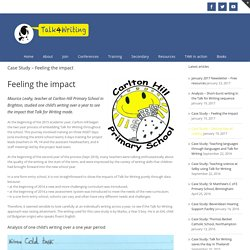 Case Study – Feeling the impact – Talk for Writing