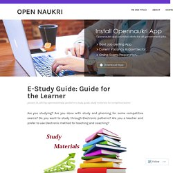 E-Study Guide: Guide for the Learner – Open Naukri