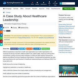 A Case Study About Healthcare Leadership