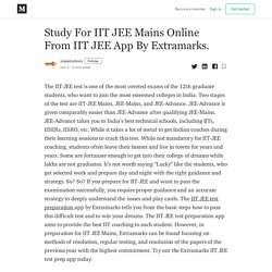 Study For IIT JEE Mains Online From IIT JEE App By Extramarks.