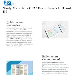 Study Material - CFA Exam Levels I, II and III [Chapter Notes]