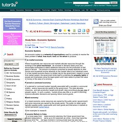Economics - Study Note - Economic Systems