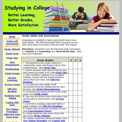Study Skills Self Assessment