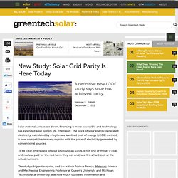New Study: Solar Grid Parity Is Here Today