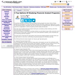 3 Top Options Of Studying Financial Analyst Programs