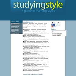 Studying Style - A guide to learning styles - Visual Learners