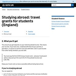 Studying abroad: travel grants for students (England)
