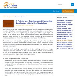 StudySectoin Blog - Pointers of Coaching and Mentoring Employees