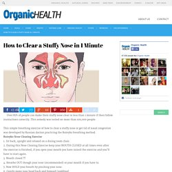 How to Clear a Stuffy Nose in 1 Minute