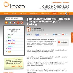 Stumbleupon Channels - The Main Changes in Stumbleupon's Redesign