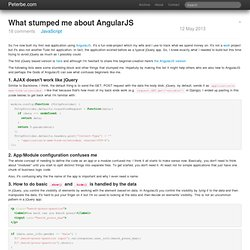 What stumped me about AngularJS