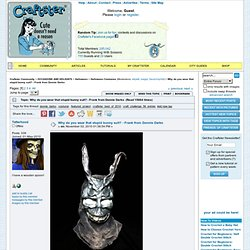 Why do you wear that stupid bunny suit? - Frank from Donnie Darko - CRAFTSTER CRAFT CHALLENGES