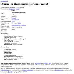 Sturm im Wasserglas (Bruno Frank)