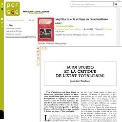 Luigi Sturzo et la critique de l'état totalitaire