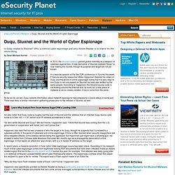 Duqu, Stuxnet and the World of Cyber Espionage