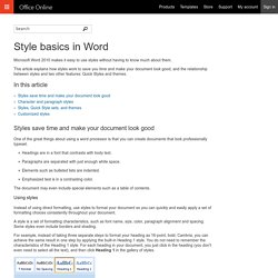 Style basics in Word