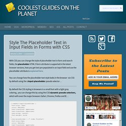 Style The Placeholder Text in Input Fields in Forms with CSS