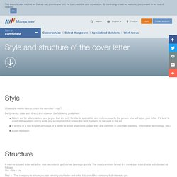 Style and structure of the cover letter