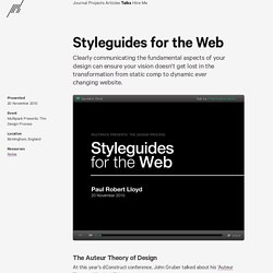 Styleguides for the Web / Paul Robert Lloyd