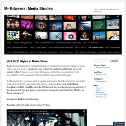 Unit 29.21 Styles of Music Video