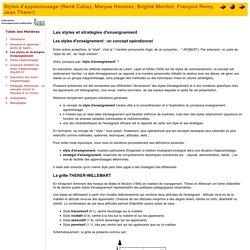 Les styles et stratégies d'enseignement