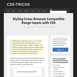 Styling Cross-Browser Compatible Range Inputs with CSS